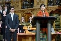 Malala addressing the Canadian parliament